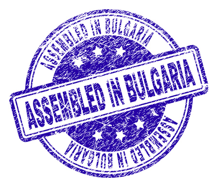 ASSEMBLED IN BULGARIA stamp seal imprint with grunge texture. Designed with rounded rectangles and circles. Blue vector rubber print of ASSEMBLED IN BULGARIA tag with unclean texture.