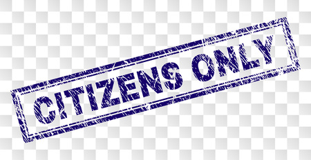 CITIZENS ONLY stamp seal print with rubber print style and double framed rectangle shape. Stamp is placed on a transparent background. Blue vector rubber print of CITIZENS ONLY tag with dirty texture.