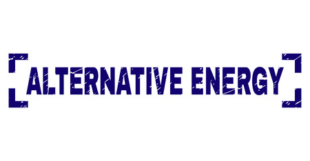 ALTERNATIVE ENERGY title seal stamp with grunge effect. Text title is placed between corners. Blue vector rubber print of ALTERNATIVE ENERGY with grunge texture.