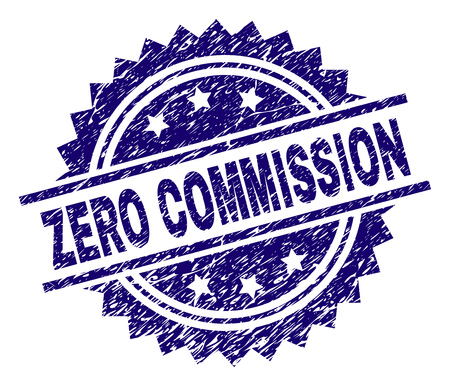 ZERO COMMISSION stamp seal watermark with distress style. Blue vector rubber print of ZERO COMMISSION label with retro texture. Çizim
