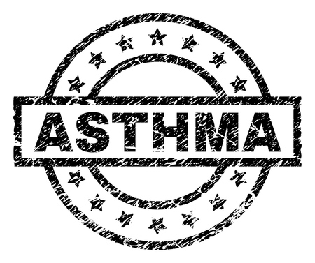 ASTHMA stamp seal watermark with distress style. Designed with rectangle, circles and stars. Black vector rubber print of ASTHMA caption with unclean texture.