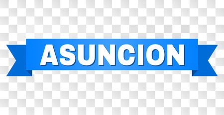 ASUNCION text on a ribbon. Designed with white title and blue tape. Vector banner with ASUNCION tag on a transparent background.