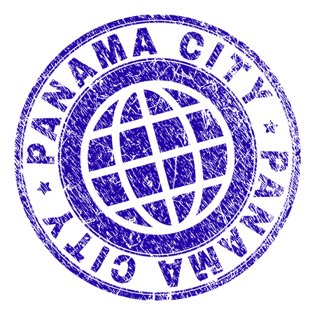 PANAMA CITY stamp imprint with distress texture. Blue vector rubber seal imprint of PANAMA CITY text with scratched texture. Seal has words arranged by circle and planet symbol. 向量圖像
