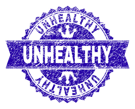 UNHEALTHY rosette stamp seal watermark with distress style. Designed with round rosette, ribbon and small crowns. Blue vector rubber watermark of UNHEALTHY tag with dirty style.