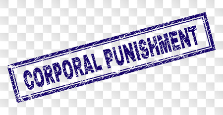 CORPORAL PUNISHMENT stamp seal print with rubber print style and double framed rectangle shape. Stamp is placed on a transparent background.