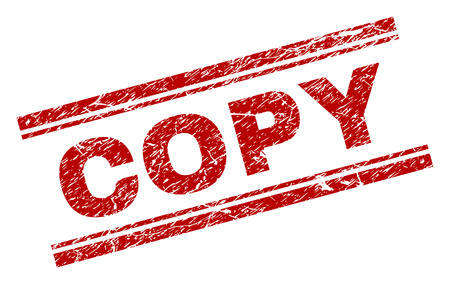 COPY seal print with corroded effect. Red vector rubber print of COPY title with dirty texture. Text title is placed between double parallel lines.
