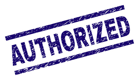 AUTHORIZED seal imprint with grunge style. Blue vector rubber print of AUTHORIZED text with grunge texture. Text label is placed between parallel lines.