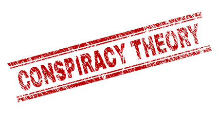 CONSPIRACY THEORY seal print with corroded texture. Red vector rubber print of CONSPIRACY THEORY label with dust texture. Text label is placed between double parallel lines.
