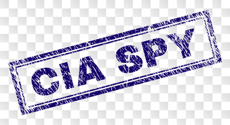 CIA SPY stamp seal print with scratched style and double framed rectangle shape. Stamp is placed on a transparent background. Blue vector rubber print of CIA SPY label with corroded texture.