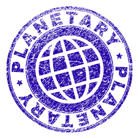 PLANETARY stamp print with grunge texture. Blue vector rubber seal print of PLANETARY text with corroded texture. Seal has words placed by circle and planet symbol.