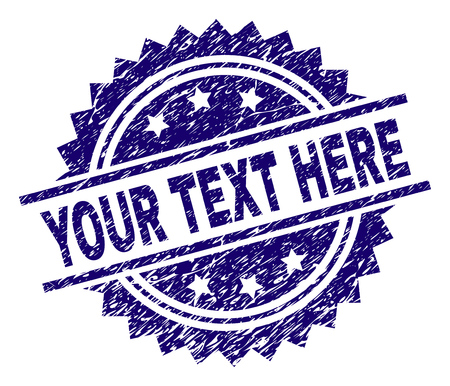 YOUR TEXT HERE stamp seal watermark with distress style. Blue vector rubber print of YOUR TEXT HERE text with dust texture. Çizim