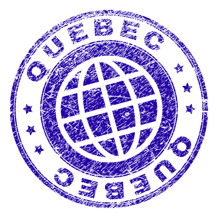 QUEBEC stamp imprint with distress texture. Blue vector rubber seal imprint of QUEBEC label with retro texture. Seal has words placed by circle and globe symbol.