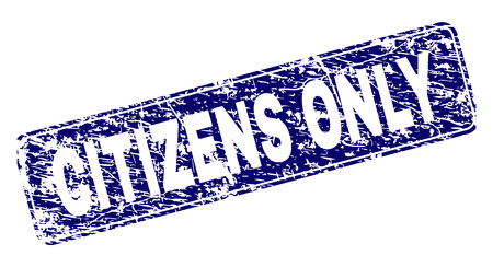 CITIZENS ONLY stamp seal print with distress style. Seal shape is a rounded rectangle with frame. Blue vector rubber print of CITIZENS ONLY tag with scratched style.