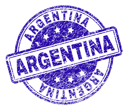 ARGENTINA stamp seal watermark with distress texture. Designed with rounded rectangles and circles. Blue vector rubber print of ARGENTINA tag with unclean texture.