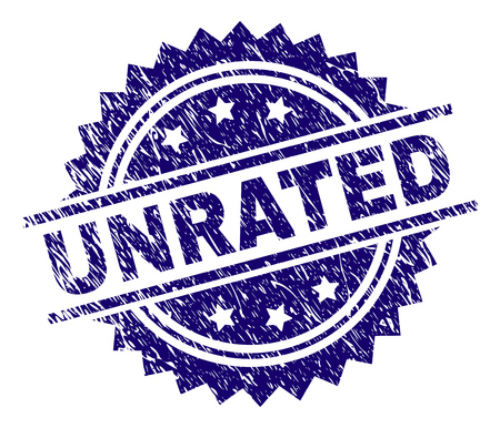 UNRATED stamp seal watermark with distress style. Blue vector rubber print of UNRATED label with dirty texture.
