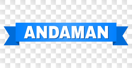 ANDAMAN text on a ribbon. Designed with white title and blue stripe. Vector banner with ANDAMAN tag on a transparent background.