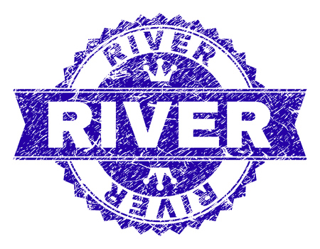 RIVER rosette stamp seal overlay with grunge texture. Designed with round rosette, ribbon and small crowns. Blue vector rubber print of RIVER tag with grunge texture.