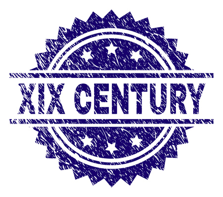 XIX CENTURY stamp seal watermark with distress style. Blue vector rubber print of XIX CENTURY label with grunge texture. Illustration