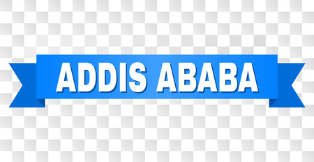 ADDIS ABABA text on a ribbon. Designed with white title and blue stripe. Vector banner with ADDIS ABABA tag on a transparent background.