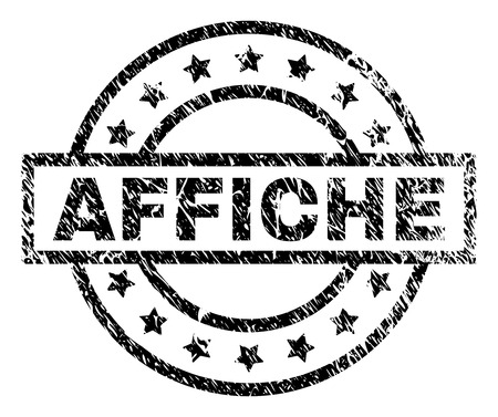 AFFICHE stamp seal watermark with distress style. Designed with rectangle, circles and stars. Black vector rubber print of AFFICHE title with unclean texture.