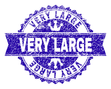 VERY LARGE rosette stamp watermark with distress texture. Designed with round rosette, ribbon and small crowns. Blue vector rubber watermark of VERY LARGE label with corroded texture.