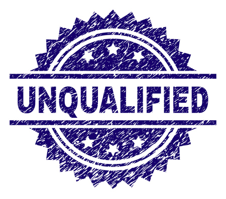 UNQUALIFIED stamp seal watermark with distress style. Blue vector rubber print of UNQUALIFIED title with dust texture. Illusztráció