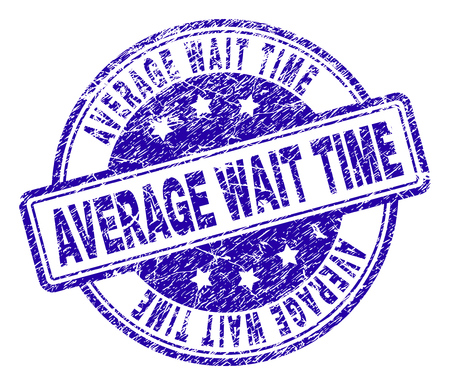 AVERAGE WAIT TIME stamp seal watermark with grunge texture. Designed with rounded rectangles and circles. Blue vector rubber print of AVERAGE WAIT TIME title with unclean texture.