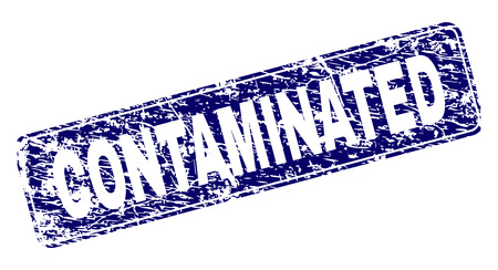 CONTAMINATED stamp seal print with grunge texture. Seal shape is a rounded rectangle with frame. Blue vector rubber print of CONTAMINATED text with grunge style.