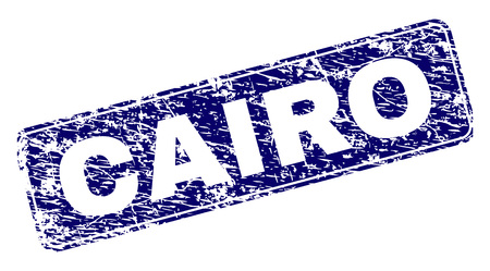 CAIRO stamp seal watermark with distress style. Seal shape is a rounded rectangle with frame. Blue vector rubber print of CAIRO tag with dirty style.