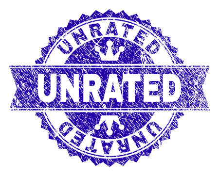 UNRATED rosette seal imitation with grunge texture. Designed with round rosette, ribbon and small crowns. Blue vector rubber print of UNRATED caption with dust texture.