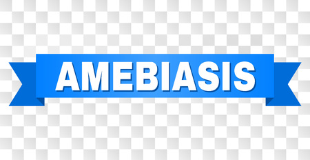 AMEBIASIS text on a ribbon. Designed with white caption and blue stripe. Vector banner with AMEBIASIS tag on a transparent background.