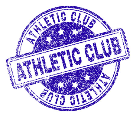 ATHLETIC CLUB stamp seal watermark with distress texture. Designed with rounded rectangles and circles. Blue vector rubber print of ATHLETIC CLUB caption with dirty texture.