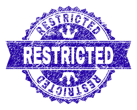 RESTRICTED rosette stamp seal watermark with grunge texture. Designed with round rosette, ribbon and small crowns. Blue vector rubber watermark of RESTRICTED title with corroded texture.