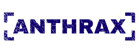 ANTHRAX caption seal print with corroded texture. Text label is placed inside corners. Blue vector rubber print of ANTHRAX with dust texture.