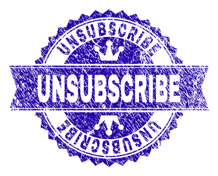 UNSUBSCRIBE rosette seal watermark with distress texture. Designed with round rosette, ribbon and small crowns. Blue vector rubber watermark of UNSUBSCRIBE text with corroded texture.