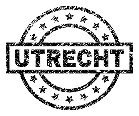 UTRECHT stamp seal watermark with distress style. Designed with rectangle, circles and stars. Black vector rubber print of UTRECHT tag with dirty texture. Illustration