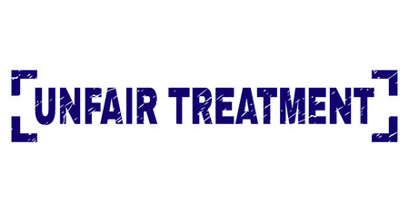 UNFAIR TREATMENT tag seal print with grunge texture. Text tag is placed between corners. Blue vector rubber print of UNFAIR TREATMENT with unclean texture.