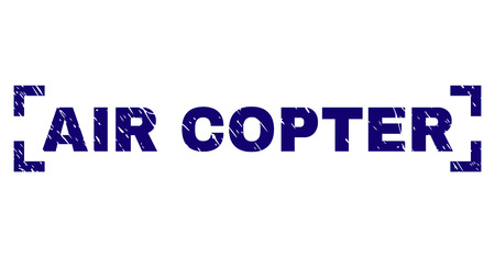 AIR COPTER label seal print with corroded texture. Text label is placed inside corners. Blue vector rubber print of AIR COPTER with corroded texture.