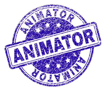 ANIMATOR stamp seal imprint with grunge effect. Designed with rounded rectangles and circles. Blue vector rubber print of ANIMATOR tag with grunge texture.