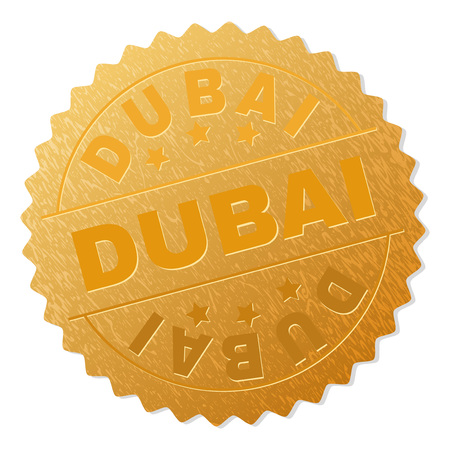 DUBAI gold stamp award. Vector golden award with DUBAI tag. Text labels are placed between parallel lines and on circle. Golden area has metallic texture.