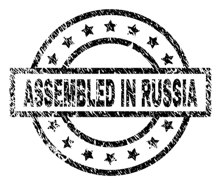 ASSEMBLED IN RUSSIA stamp seal watermark with distress style. Designed with rectangle, circles and stars. Black vector rubber print of ASSEMBLED IN RUSSIA tag with dust texture. Illustration