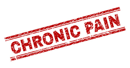 CHRONIC PAIN seal print with grunge texture. Red vector rubber print of CHRONIC PAIN text with grunge texture. Text label is placed between double parallel lines.