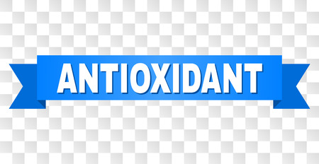 ANTIOXIDANT text on a ribbon. Designed with white title and blue stripe. Vector banner with ANTIOXIDANT tag on a transparent background. Vettoriali