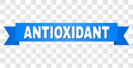 Texte ANTIOXYDANT sur un ruban. Conçu avec un titre blanc et une bande bleue. Bannière vectorielle avec tag ANTIOXYDANT sur fond transparent. Vecteurs