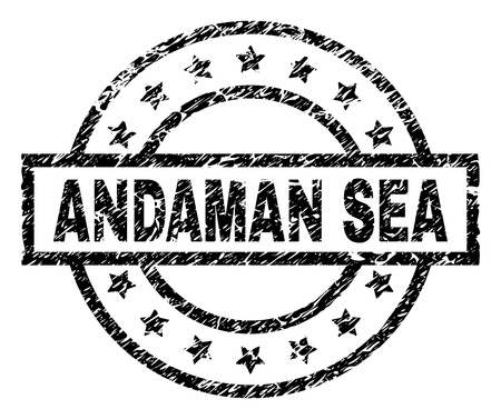 ANDAMAN SEA stamp seal watermark with distress style. Designed with rectangle, circles and stars. Black vector rubber print of ANDAMAN SEA title with retro texture. Иллюстрация