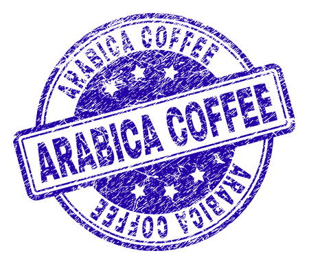 ARABICA COFFEE stamp seal imprint with grunge texture. Designed with rounded rectangles and circles. Blue vector rubber print of ARABICA COFFEE tag with grunge texture.