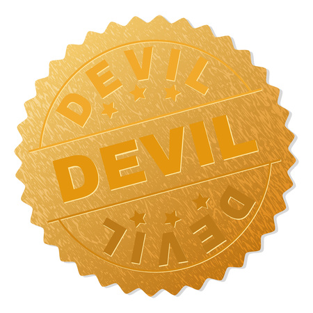 DEVIL gold stamp award. Vector gold award with DEVIL caption. Text labels are placed between parallel lines and on circle. Golden surface has metallic texture.