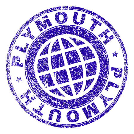 PLYMOUTH stamp imprint with grunge effect. Blue vector rubber seal imprint of PLYMOUTH tag with grunge texture. Seal has words placed by circle and globe symbol.