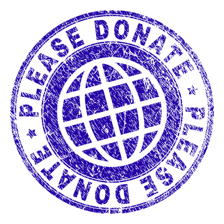 PLEASE DONATE stamp print with grunge texture. Blue vector rubber seal print of PLEASE DONATE text with dust texture. Seal has words arranged by circle and planet symbol. 向量圖像