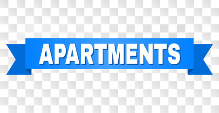 APARTMENTS text on a ribbon. Designed with white caption and blue tape. Vector banner with APARTMENTS tag on a transparent background.